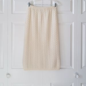 Vintage Ted Lapidus Cream Cable Knit Midi Skirt M